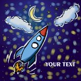 Rocket flying in space with moon and stars hand digital drawing royalty free illustration