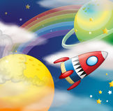 Rocket. Flying in the space at night royalty free illustration