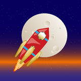Rocket flying through space to the moon, background. Vector Stock Images
