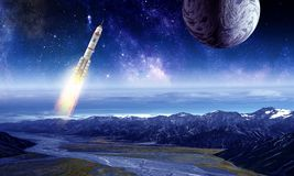 Rocket in space. Mixed media. Rocket flying in starry space sky. Mixed media Stock Photography