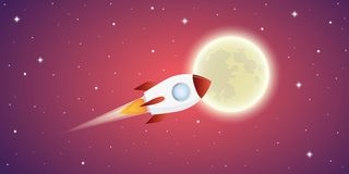 Rocket is flying to the full moon in pink starry space vector illustration