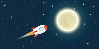 Rocket is flying to the full moon in space vector illustration