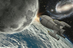 Rocket flying to the moon Stock Photo