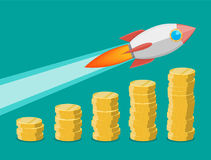 Rocket flying up on coins growth chart. Graph that shows increase in sales. Business success. Vector illustration in flat style Stock Image