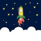 Rocket Flying Up till utrymme framgång för resultat för affärsmanbegreppsgraf Arkivbild