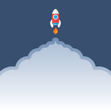Rocket is flying up vector.  Start Up concept symbol. Stock Images