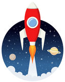 Rocket Flying vermelho no espaço com estrelas ilustração royalty free