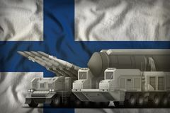 Finland rocket troops concept on the national flag background. 3d Illustration. Rocket forces on the Finland flag background. Finland rocket forces concept. 3d Royalty Free Stock Image
