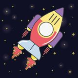 Rocket in the galaxy space exploring the universe. Vector illustration Stock Photo