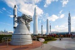 Rocket garden at Kennedy Space Center. Cape Canaveral, Florida, USA - DEC, 2016: Apollo rockets in the rocket garden at Kennedy Space Center Royalty Free Stock Photography