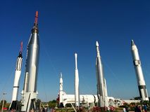 Rocket Garden at Kennedy Space Center. The rocket garden of space history at Kennedy Space Center Royalty Free Stock Photo