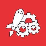 Rocket and gear wheels Stock Photography