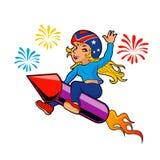 Rocket girl cartoon Royalty Free Stock Photos