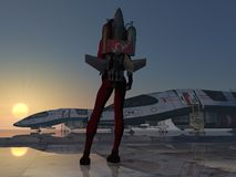 Rocket Girl Jet Pack From detrás en la estación espacial Imagen de archivo