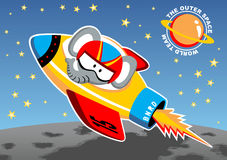 Rocket go to outer space. Elephant the astronaut on outer space rocket, vector cartoon illustration royalty free illustration