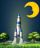 A rocket going to the sky with a sleeping moon Royalty Free Stock Photos