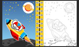 Rocket going to space with cute elephant cartoon vector illustration