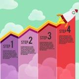 Rocket Graph Info Graphic Vetora vermelho ilustração royalty free