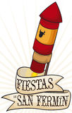 Rocket with Greeting Ribbon in Spanish for San Fermin, Vector Illustration. Rocket with colors of Spain and bull head silhouette decorated with a greeting ribbon Royalty Free Stock Photos