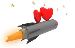 Rocket and hearts Royalty Free Stock Photography