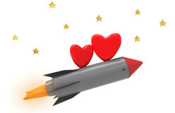 Rocket and hearts Stock Photos