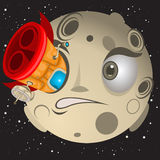 Rocket hit the moon. Funny cartoon vector illustration of a rocket hit a moon in the eye royalty free illustration