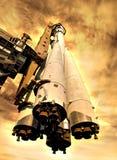 Rocket on hot planet vector illustration