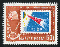 Rocket. HUNGARY - CIRCA 1963: stamp printed by Hungary, shows rocket, circa 1963 Stock Photo