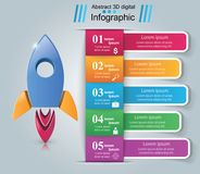 Rocket icon. Abstract illustration Infographic. Rocket logo. Infographic design template and marketing icons stock illustration