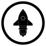 Rocket icon black vector Royalty Free Stock Photo