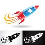 Rocket Icon blu e rosso Fotografia Stock Libera da Diritti