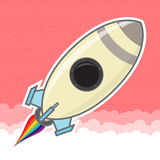 Rocket-003. Rocket Icon with bow trail Stock Photos
