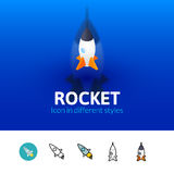 Rocket icon in different style. Rocket color icon, vector symbol in flat, outline and isometric style isolated on blur background Stock Image