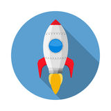 Rocket. Icon, flat design with long shadow royalty free illustration