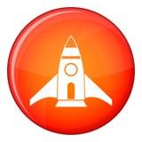 Rocket icon, flat style Stock Photo