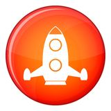 Rocket icon, flat style. Rocket icon in red circle isolated on white background vector illustration Stock Image