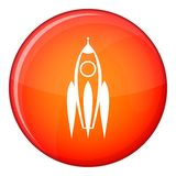 Rocket icon, flat style. Rocket icon in red circle isolated on white background vector illustration Royalty Free Stock Images