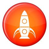Rocket icon, flat style. Rocket icon in red circle isolated on white background vector illustration Royalty Free Stock Photo