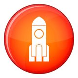 Rocket icon, flat style. Rocket icon in red circle isolated on white background vector illustration Stock Images