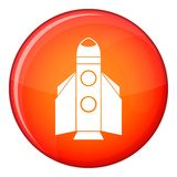 Rocket icon, flat style. Rocket icon in red circle isolated on white background vector illustration Stock Photography