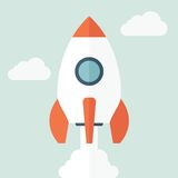 Rocket Icon in Flat Style Royalty Free Stock Images