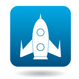 Rocket icon in flat style. On a white background Stock Photo