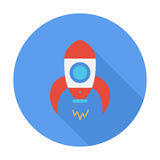 Rocket. Icon. Flat vector related icon with long shadow for web and mobile applications. It can be used as - logo, pictogram, icon, infographic element. Vector royalty free illustration