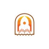 Rocket Icon isolou-se no fundo branco Conceito novo do projeto para o logotipo Fotos de Stock
