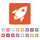 The rocket icon. Launch and speed symbol. Flat Stock Photos