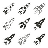 Rocket icon set. Rocket vector icons set. Black illustration isolated on white background for graphic and web design Vector Illustration