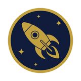 Rocket flying icon in the circle royalty free illustration