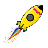 Rocket. Icon with star and rain bow trail royalty free illustration