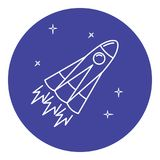Rocket icon in thin line style. Space rocket icon in thin line style. Spaceship symbol in round frame Royalty Free Stock Image