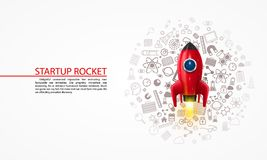 Rocket with icons on the background. Vector illustration Royalty Free Stock Photography